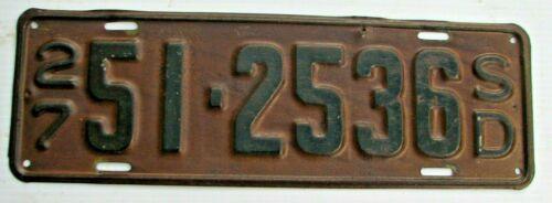 "1927 SOUTH DAKOTA  AUTO LICENSE PLATE  "" 51 2536 ""  SD  27  ORIGINAL CONDITION"