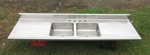 "Vtg Mid Century Industrial 84"" Stainless Steel Double Basin Elkay SInk 526-18E"
