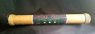 "Bamboo Crafted Rain Stick Hand Painted Dot Design 16"" Melodic Nature Tone Musica](Rain Stick Craft)"