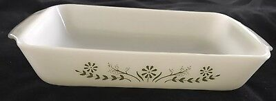 Vintage Milk Glass Casserole Dish with Green Flowers