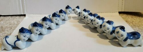 Vintage Chinese Pillow Baby Chop Stick Rest Knife Rest Blue White Porcelain 12