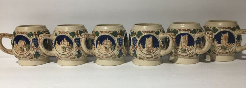 6 Vintage Mugs German Gerz Castle Collectible