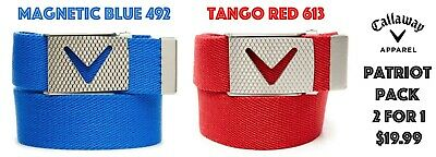 Callaway Golf Apparel Mens Webbed Chev Belt PATRIOT PACK 2 belts for $19.99