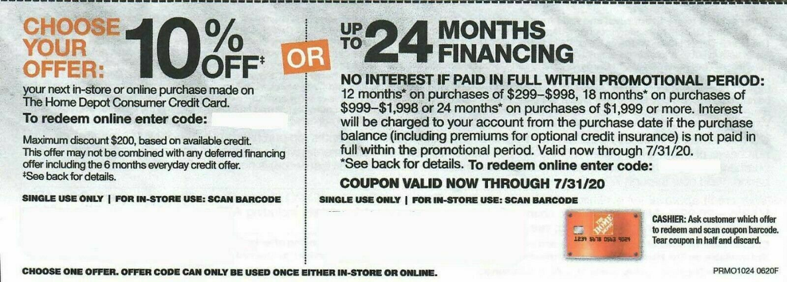 Home Depot 10 Off Up To 200 Coupon In-Store Online Expires 11/04/2020 - $37.95