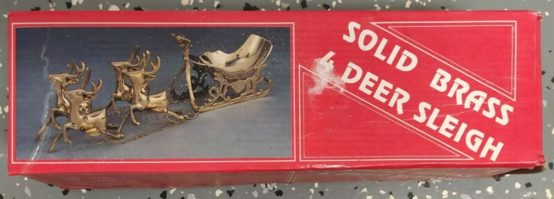Vintage Solid Brass Santa Sleigh with 4 Chained Reindeer Holiday Decoration