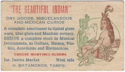 Matamoros Mexico Curio Dealer Bi-Lingual Vintage Business Card