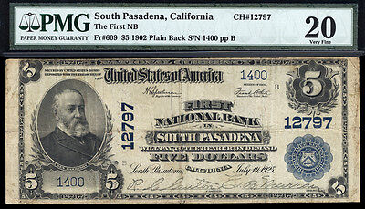 5 1902 Pb First National Bank In South Pasadena Ca Ch  12797 Rare Only 12 Large