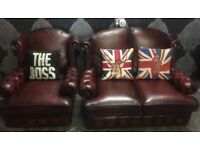 Stunning Chesterfield 2 Seater Sofa & Matching Chair Oxblood Red Leather - Uk Delivery