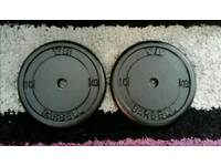 2 x 10kg metal weight plates