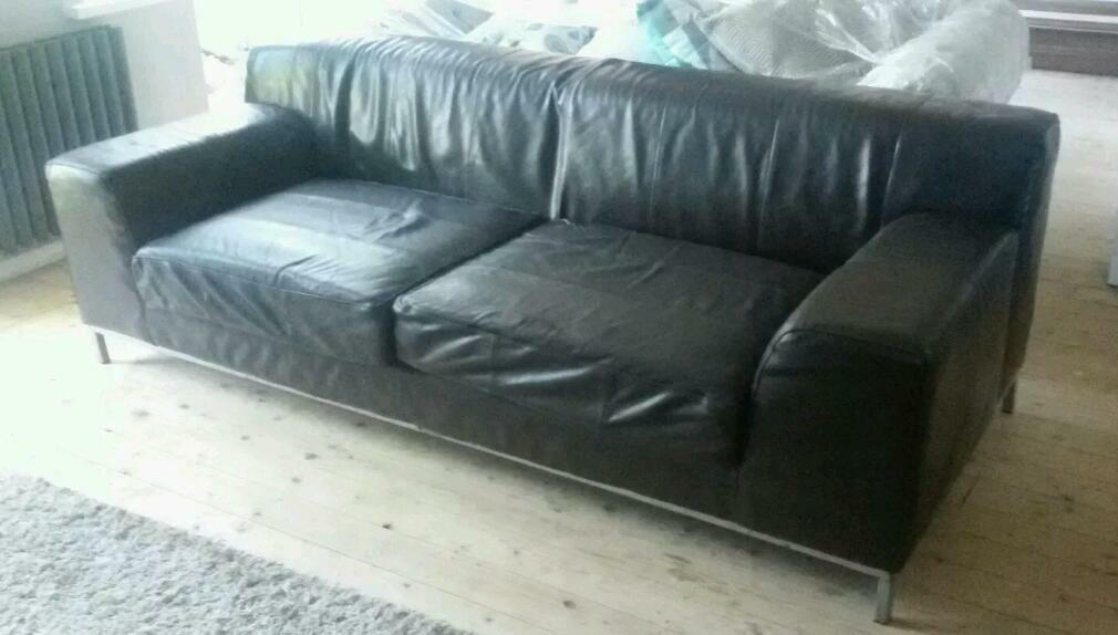 Ikea Kramfors Sofa Brown Leather 3 Seater