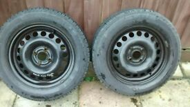 Pair 195/60R15 Continental tyres on Vauxhall rims