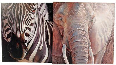2 BILDER Bild WANDBILD,AFRIKA,ZEBRA,Elefant,ZOO,LEINWAND,KEILRAHMEN