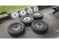 One Complete set of four original Volkswagen 2009 Caddy Van steel wheels and trims.