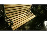 Classic garden bench seat, lion head motifs, fully refurbished