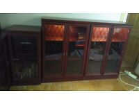 2 display cabinets and stereo unit
