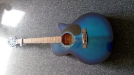 Jasmine by Takamine S34c Blue Acoustic Guitar and case.
