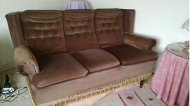 FREE - 3 seater sofa and armchair in chocolate brown drayon