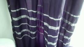 Purple & silver shower curtain, bath mat and bin