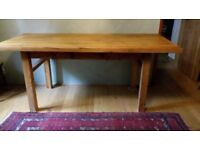 Chunky pine farmhouse table with drawer.