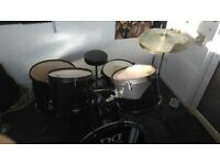 5 Piece Metallic Black Drum Kit for Beginners