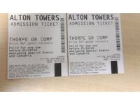 2x Alton Towers one day tickets (Valid any day until 21.10.16)