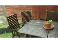 Solid oak outside table and 6 chairs