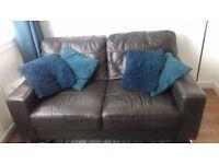 Black Leather Sofa - Hardly Used
