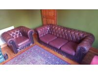 Vintage 3 seater Chesterfield sofa and chair