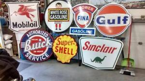 BIG OLD TIME GAS AND OIL SIGNS