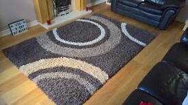 Shaggy Supreme Large Rug - Brown/Beige Circle