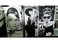 3 large Audrey Hepburn Canvas's