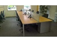 Bank of 8 beech desks
