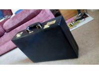 Black faux leather briefcase