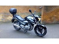 Suzuki Inazuma, low mileage and 13 months MOT. Ideal commutor bike with top box and chain lock