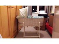 White whicker & wood sturdy rocking unisex hardly used moses basket