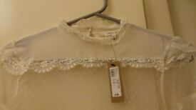 River Island - ladies 'Neo-Classic' cream frill top