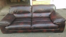 DFS brown leather 2 tone 3 seater and chair