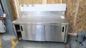 Stainless Steel 6ft Commercial Work Table W/ 2 Shelves + 2 Sliding Doors