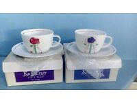 Fine bone china cappuccino breakfast cups - Dunoon, pair with Rennie Macintosh inspired design