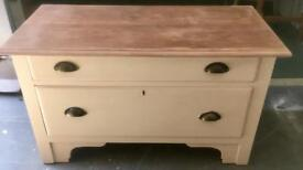 Solid wooden 2 drawer chest/coffee table/tv unit