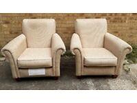 Pair of modern beige material M&S armchairs, £50 each or £90 pair.
