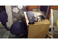 monitor..keyboard,...mouse..webcam..desk and chair..
