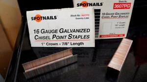 10,000 16 GUAGE GALVANIZED CHISEL POINT STAPLES 1 INCH CROWN X 7/8 LENGTH