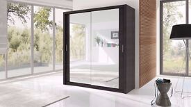【AVAILABLE IN 4 SIZES】CHICAGO 2 DOOR SLIDING WARDROBE WITH MIRROR DIFFERENT COLOURS AVAILABLE