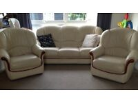 3 seater leather sofa with 2 armchair
