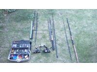 Fishing gear. 3 x rods 3 x reals etc.