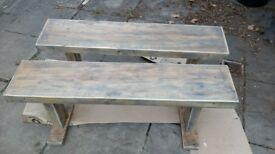 New Solid Wood Benches - Wooden Bench Pair (x2)