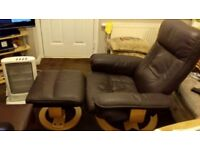 brown recliner chair with footstool