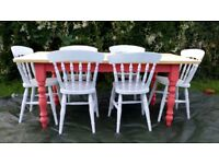Shabby chic farmhouse table anf chair