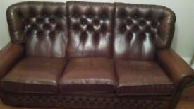3 seater vintage brown leather sofa
